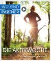 Läuferin im Wald mit Hinweistext: Wir sind Partner - Die Aktivwoche - Gesunde Vielfalt