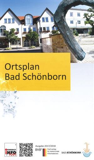 Titelblatt des Ortsplan Bad Schönborn mit den beiden Rathäusern der Ortsteile Mingolsheim und Langenbrücken