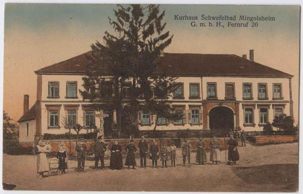 Historische Postkarte mit Außenansicht des Kurhaus Schwefelbad Mingolsheim