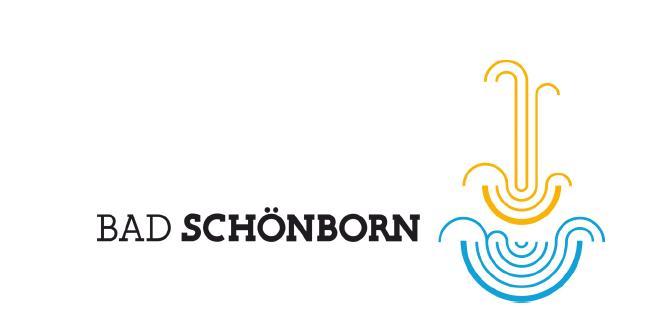 Logo der Gemeinde Bad Schönborn mit blauem Brunnensymbol und gelber Wasserfontäne