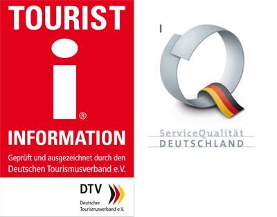 Die Logos Tourist Information - geprüft und ausgezeichnet durch den Deutschen Tourismusverband e.V. und Servicequalität Deutschland