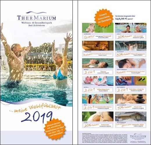 Titelseite und Übersichtsseite des Thermarium Kalenders 2019