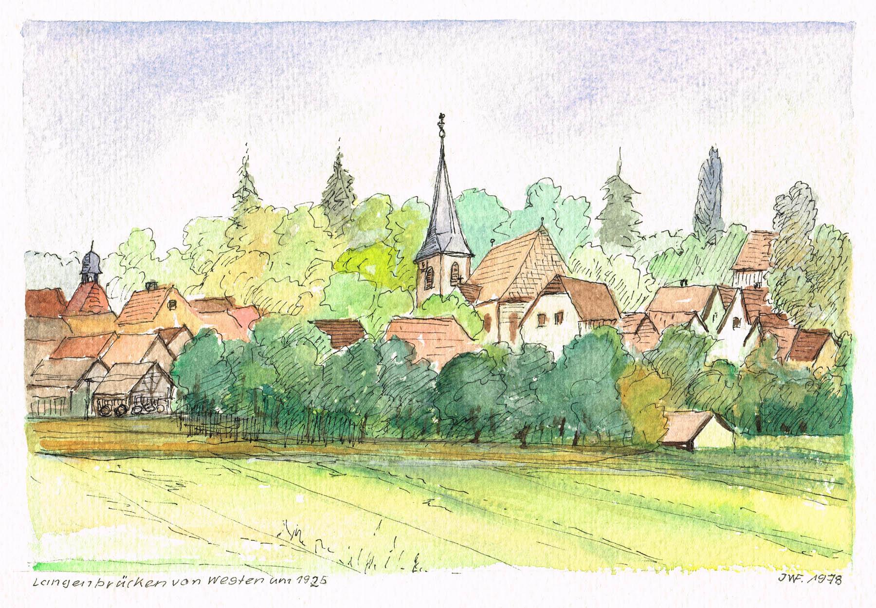 Ortsansicht Langenbrücken von Westen um 1925 von Johann Wilhelm Fank