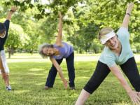 Freizeitsportler bei Fitnessgymnastik in einem Park