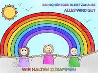 Ausmalbild mit 3 Kindern die sich an einem Seil halten und Regenbogen im Hintergrund