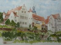 Foto eines Aquarell-Landschaftsgemäldes von Gochsheim