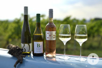 Weinflaschen mit regionalen Erzeugnissen aus Bad Schönborn und Umgebung