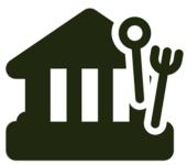 Symbol für Gaststätte schwarz. Ein Haus mit Löffel und Gabel
