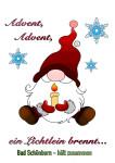 ausgemalter Nikolaus mit Kerze in den Händen. Text: Advent, Adevent, ein Lichtlein brennt...
