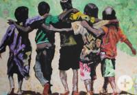 Gemälde zeigt fünf Kinder von hinten, die sich um die Schulter fassen