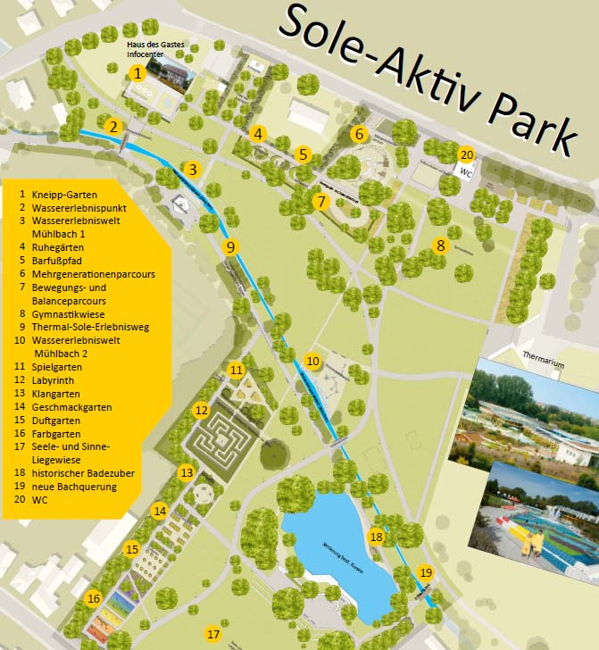 Plan des neugestalteten Sole-Aktiv Parks Bad Schönborn