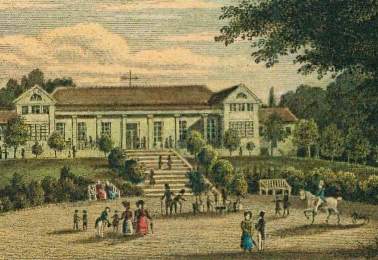Ansicht des Amalienbades Bad Schönborn Langenbrücken auf einer historischen Postkarte