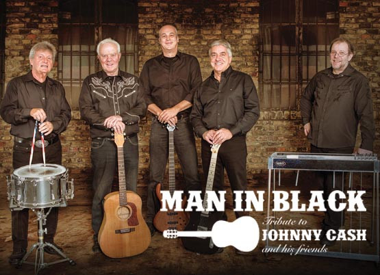 Die fünf Musiker der Band  MAN IN BLACK Tribute to Johnny Cash and his friends