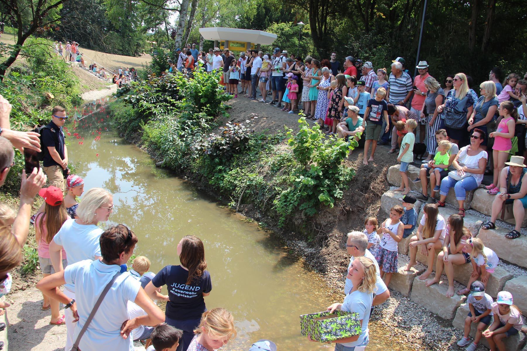 Ziel-Einlauf beim Entenrennen im Rahmen des 1. Bad Schönborner Familienfestivals am 15. Juli 2018