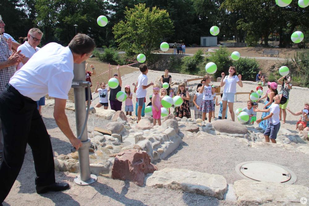 Eröffnung des Wasserspielplatz im Sole-Aktiv-Park Bad Schönborn am 15. Juli 2018