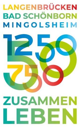 Jubiläums-Logo Zusammen Leben: 50 Jahre Mingolsheim - 750 Jahre Langenbrücken - 1250 Jahre Mingolsheim