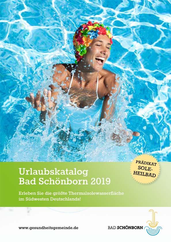 Titelseite Urlaubskatalog Bad Schönborn 2019 -  Prädikat Sole-Heilbad - Erleben Sie die größte Thermalsolewasserfläche im Südwesten Deutschland!