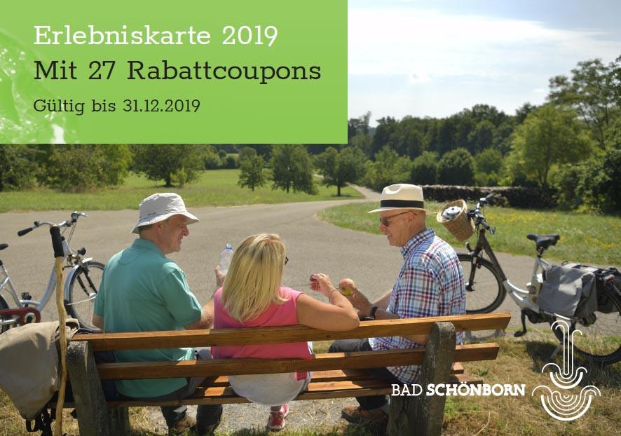 Titelseite Erlebniskarte Bad Schönborn 2019 mit 27 Rabattcoupons gültig bis 31.12.2019