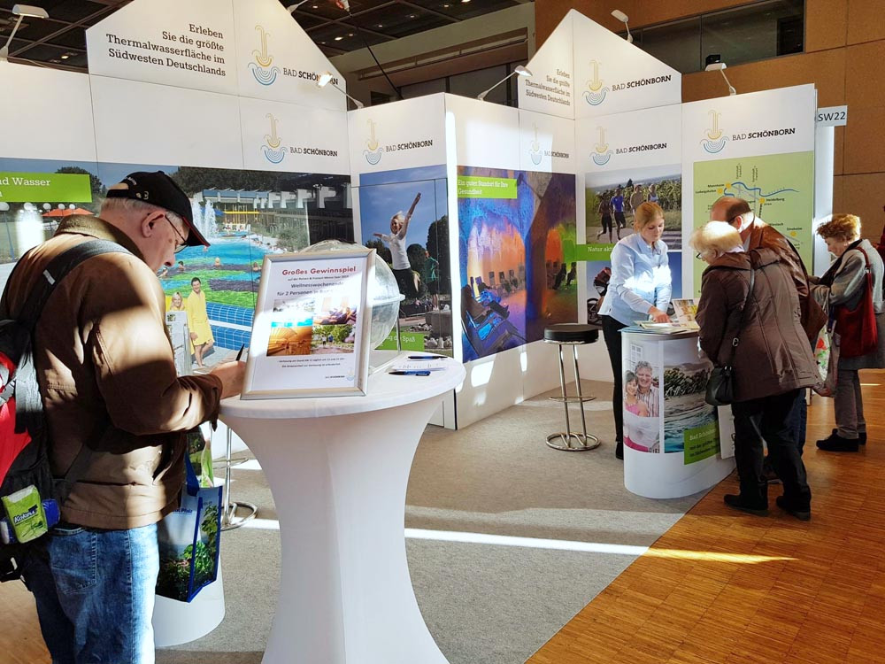 Stand der Gemeinde Bad Schönborn auf der Reisemesse Saarbrücken 2019