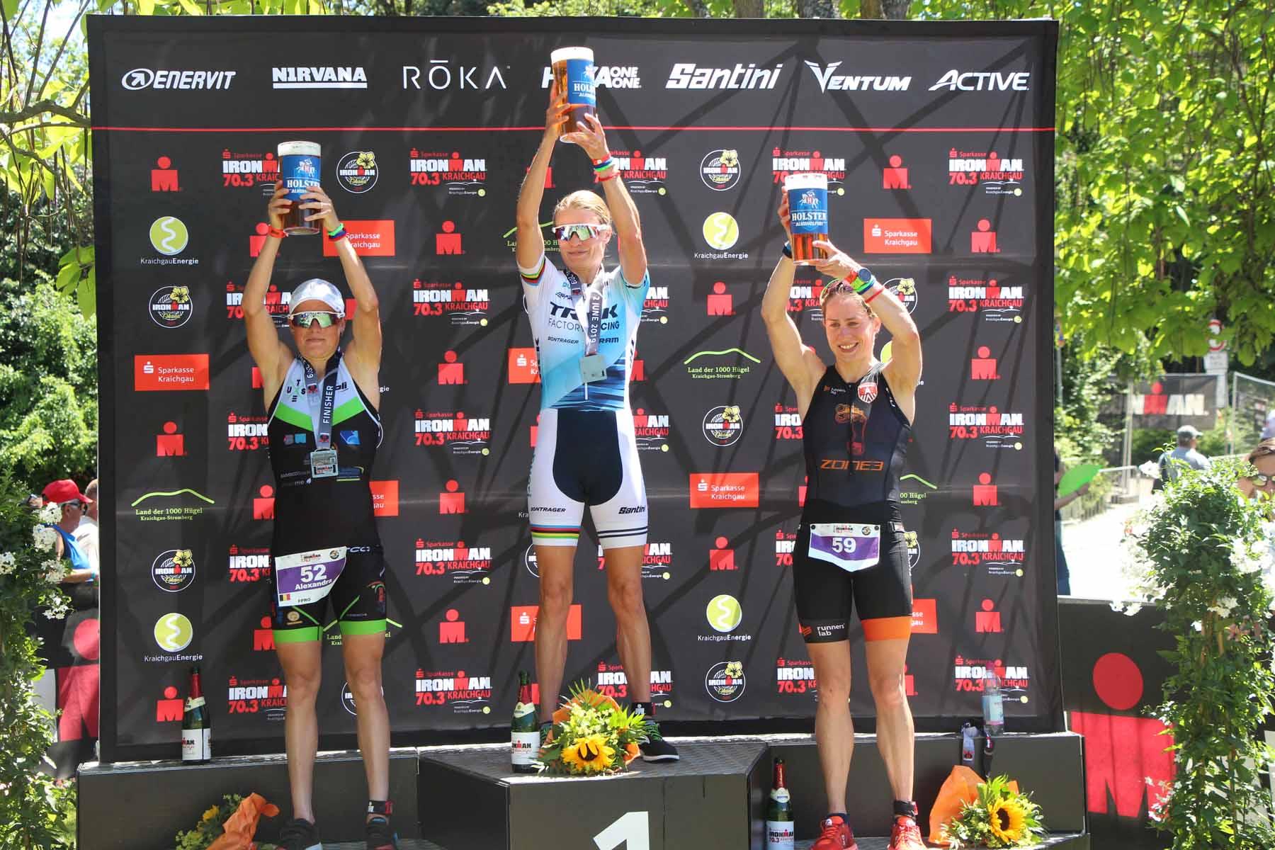 Ironman 2019 die Top 3 der Frauen: Helle Frederiksen, Alexandra Tondeur und Katrien Verstuyft