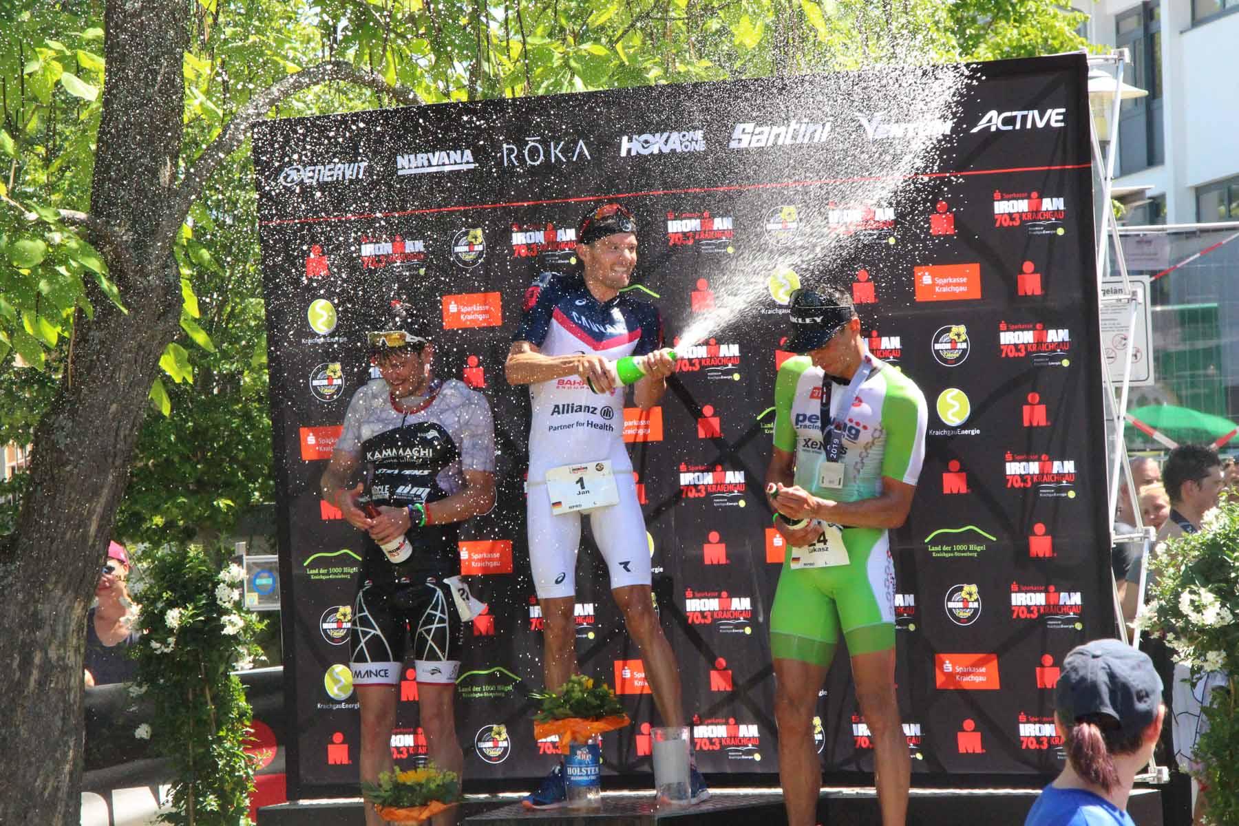 Ironman 2019 die Top 3 der Männer: Jan Frodeno, Patrick Dirksmeier und Lukasz Wojet