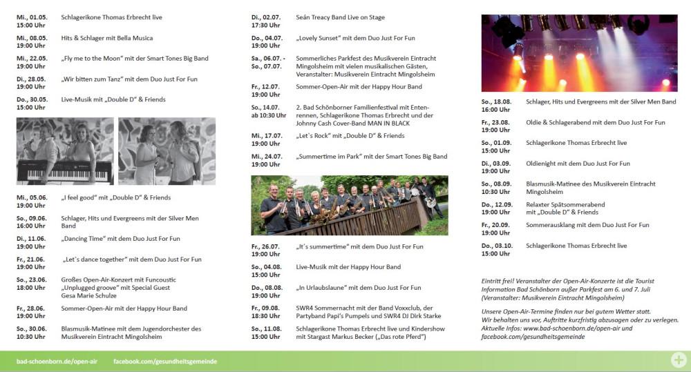 Inhaltsseite der Broschüre Sommer-Open-Air in Bad Schönborn mit Terminübersicht