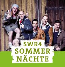 Logo SWR4 Sommernächte mit Band VoXXclub im Hintergrund