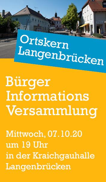 Ortskern Langenbrücken: Bürger-Informations-Versammlung Mittwoch, 07.10.20 um 19 Uhr in der Kraichgauhalle Langenbrücken