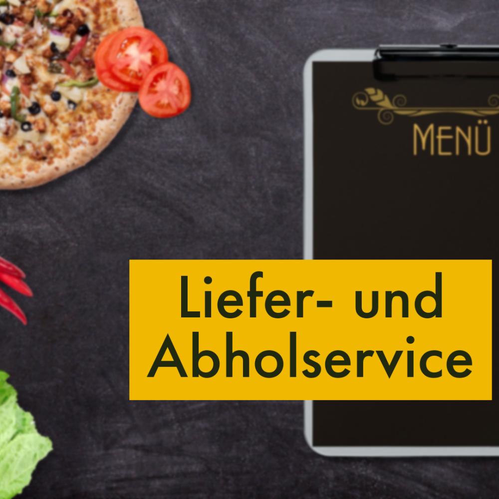 Auf schwarzem Hintergrund eine Pizza mit Tomaten und eine Menükarte, darauf steht in einem gelben Banner Liefer- und Abholservice