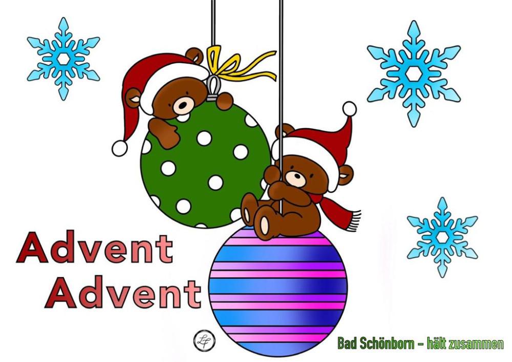 Ausmalbild für Kinder angemalt: 2 Weihnachtskugeln auf denen kleine Weihnachtsbären sitzen und hängen. Im Hintergrund befinden sich Schneeflocken und die Aufschrift Advent Advent und Bad Schönborn - hält zusammen