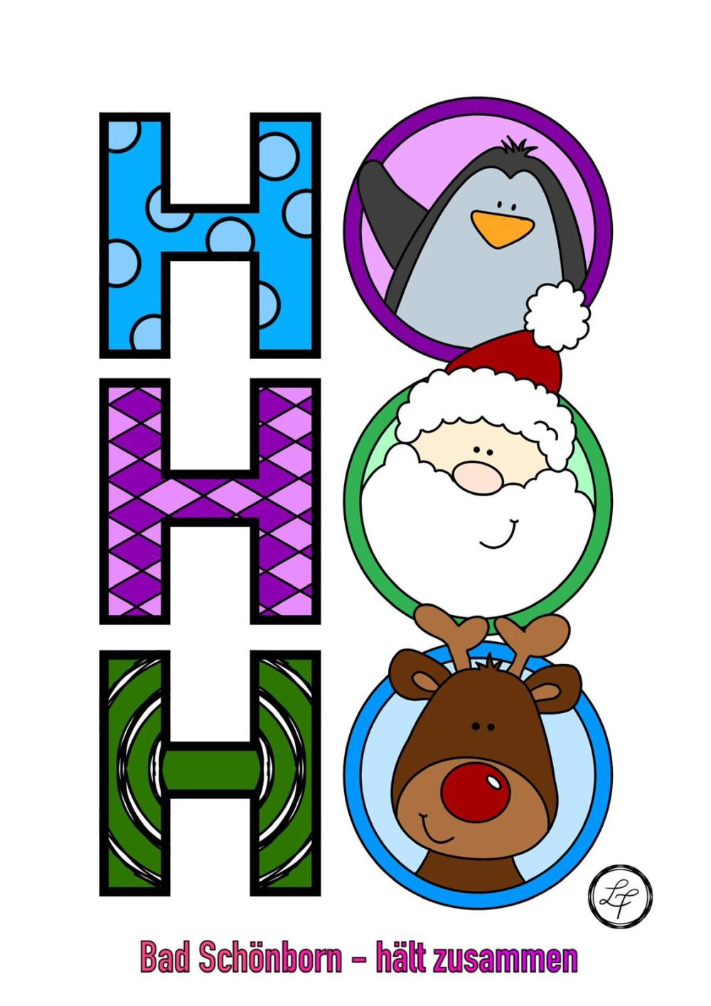 Ausmalbild angemalt für Kinder: Große Buchstaben HO, HO, HO und im O sind Pinguin, Nikolaus und Rentier abgebildet