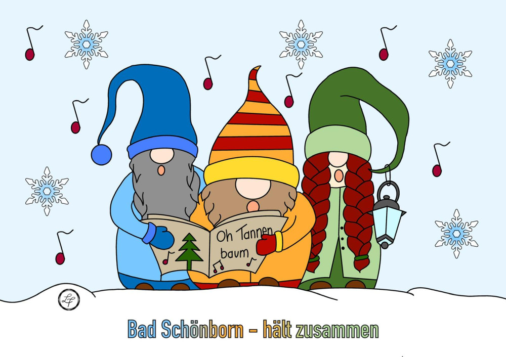 3 bunte Zwerge beim Lieder singen im Schnee