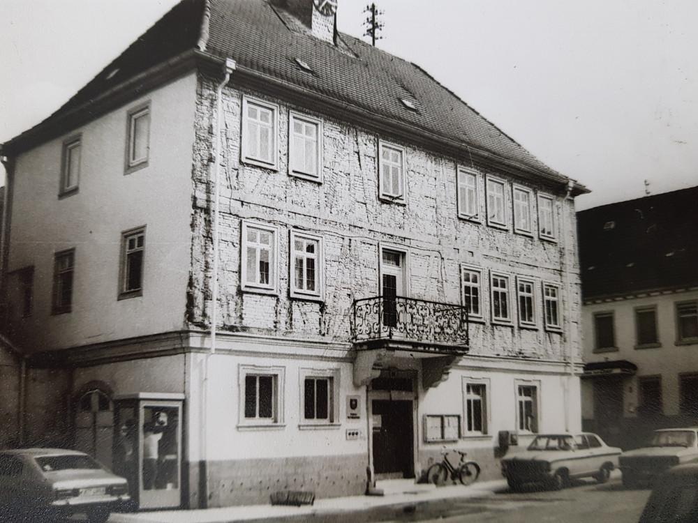 Freigelegte Außenmauer des alten Rathaus Mingolsheim 1978