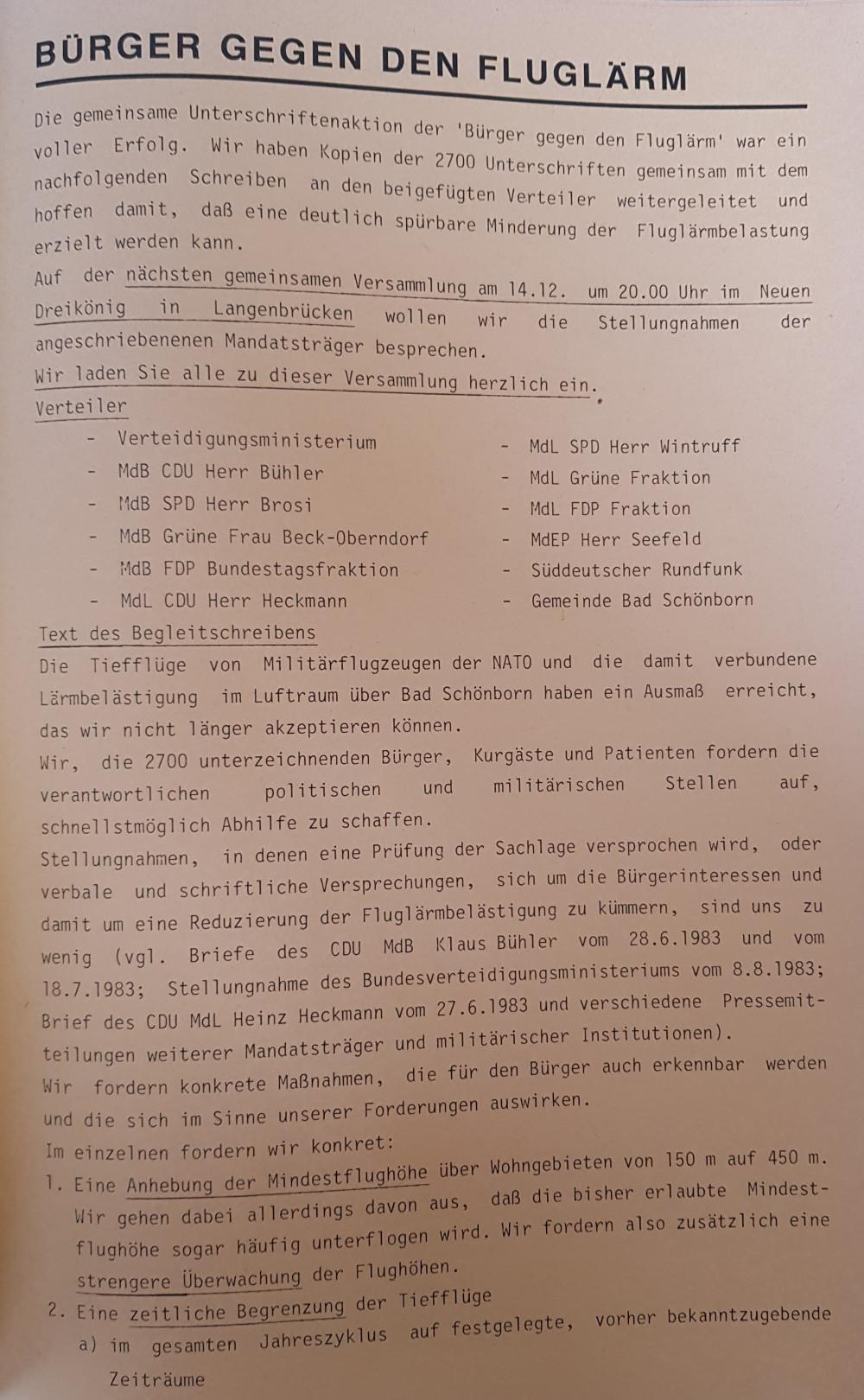 Pamphlet der Bürgerinitiative gegen den Tieffliegerfluglärm