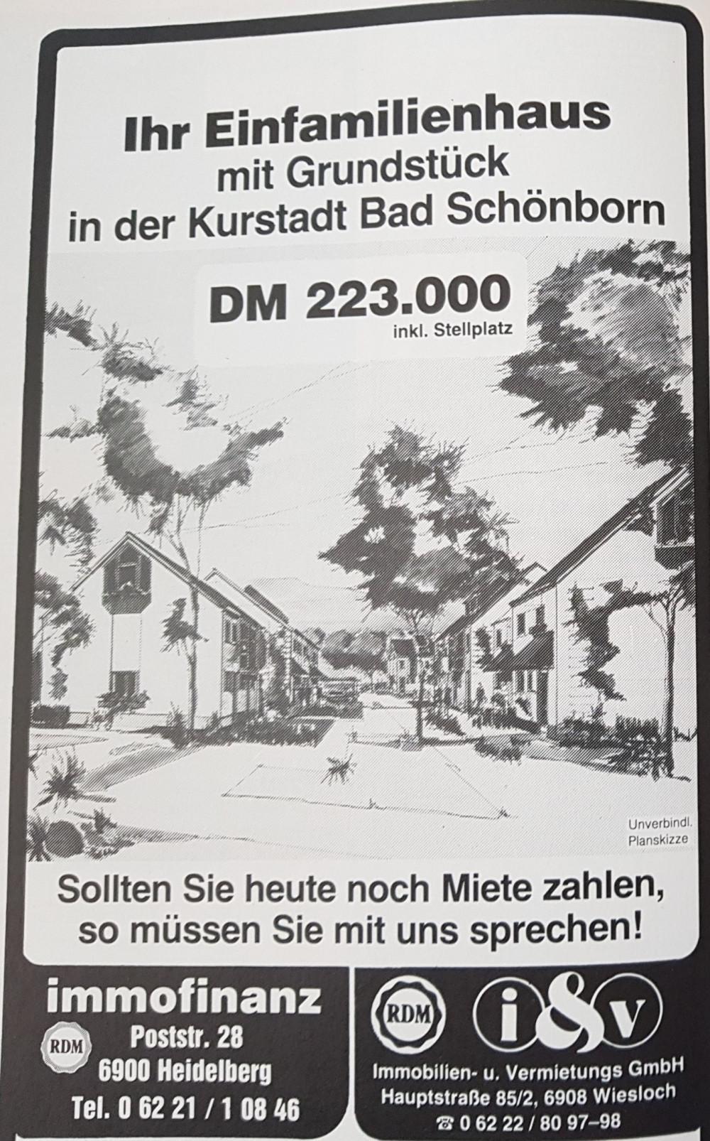 Werbung Mitteilungsblatt 1984 Eigenheim Kurstadt Bad Schönborn