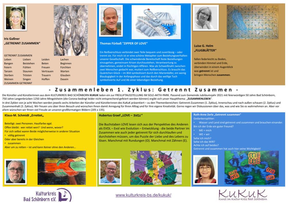 """Programm der Kunstausstellung """"Zusammenleben"""" des Kulturkreis Bad Schönborn"""
