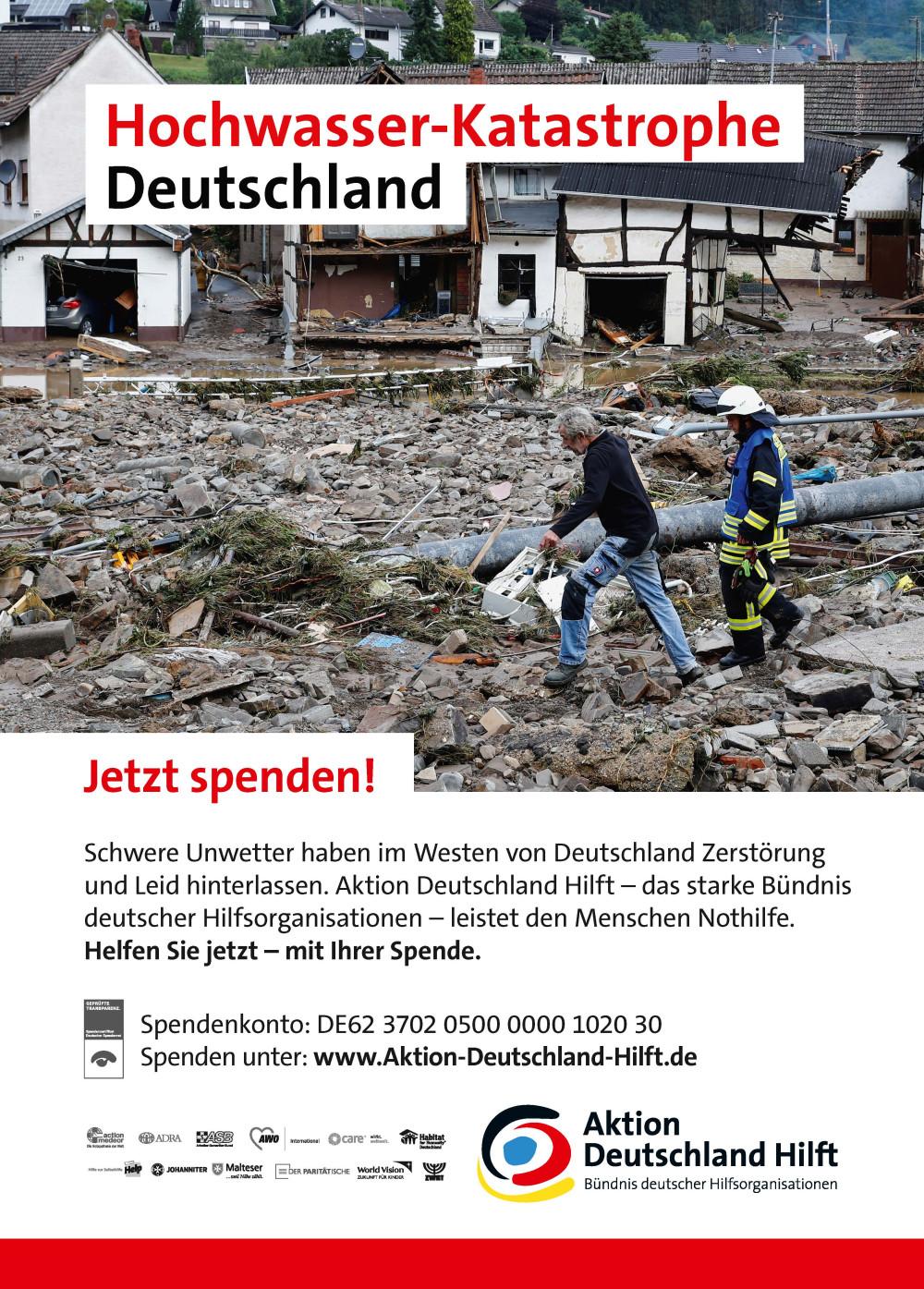 Plakat Spendenaufruf - Aktion Deutschland Hilft