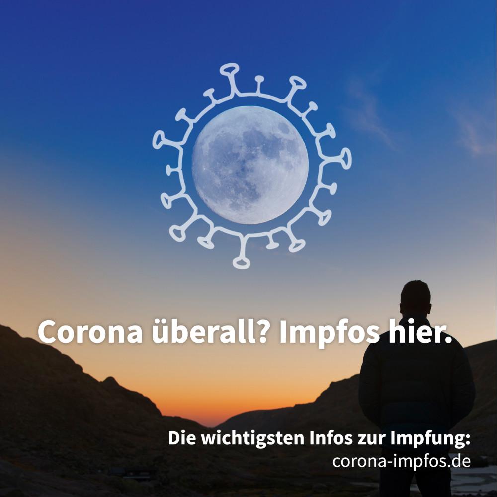 Landschaft bei Sonnenuntergang, der Mond hat eine Umrandung in Form eines Corona-Viruses